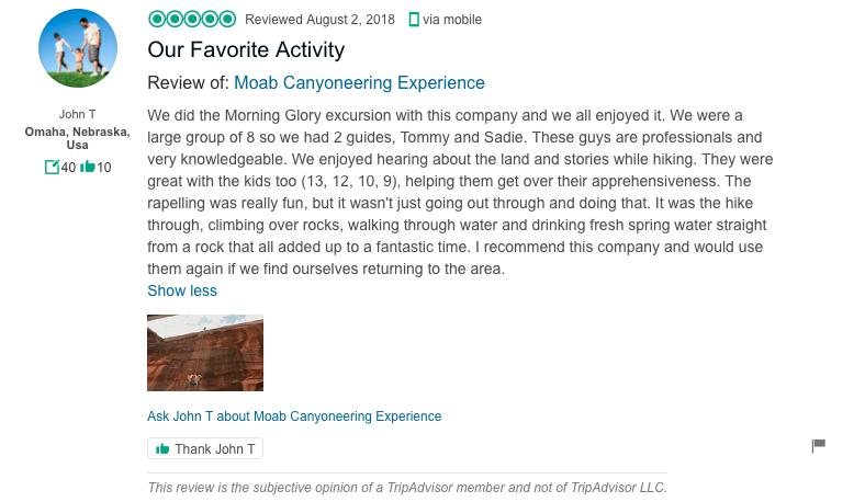 Trip Advisor review - Red River Adventures in Moab Utah